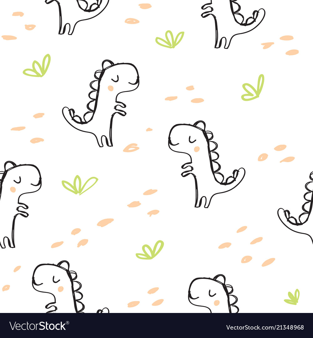 Cute dinosaur and doodles seamless pattern