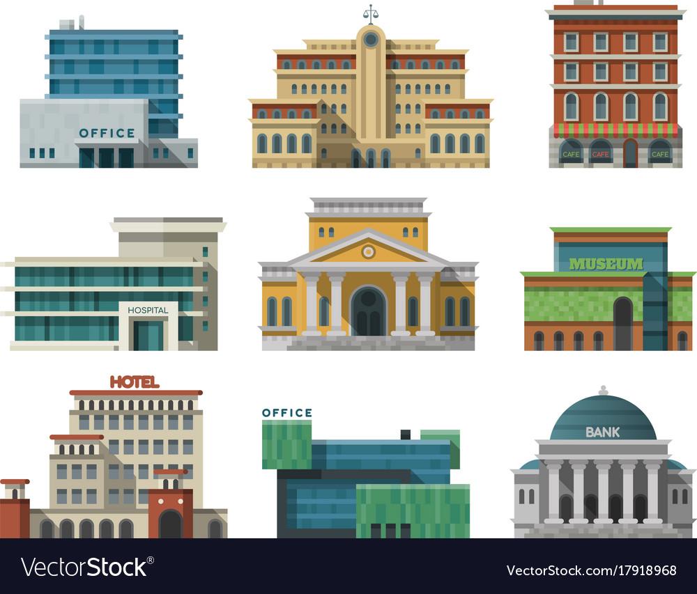 Different city public buildings houses set flat
