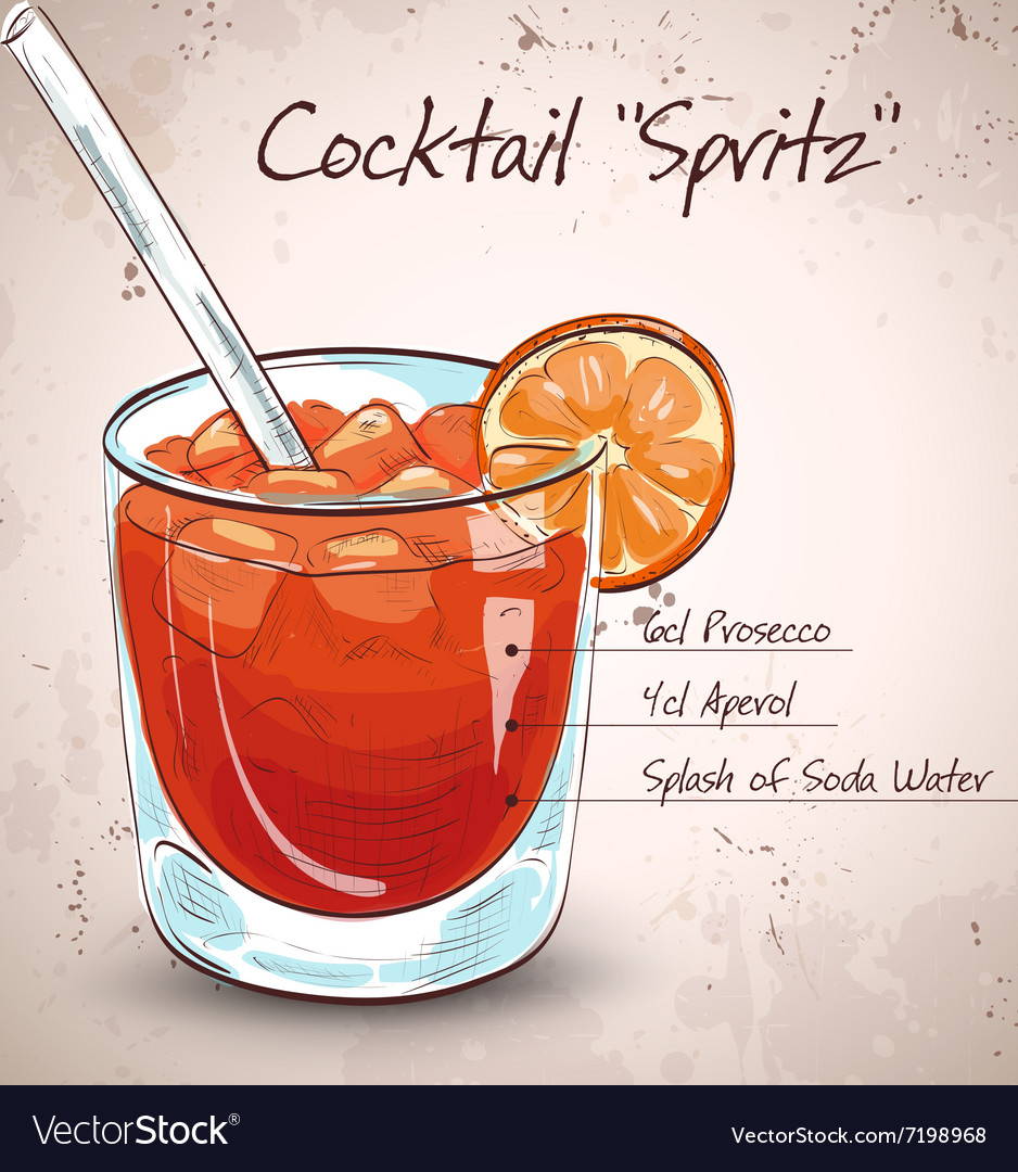 Glass of spritz aperitif aperol cocktail vector image