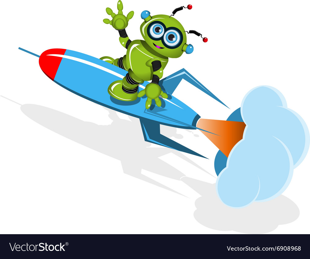 Green robot on the rocket