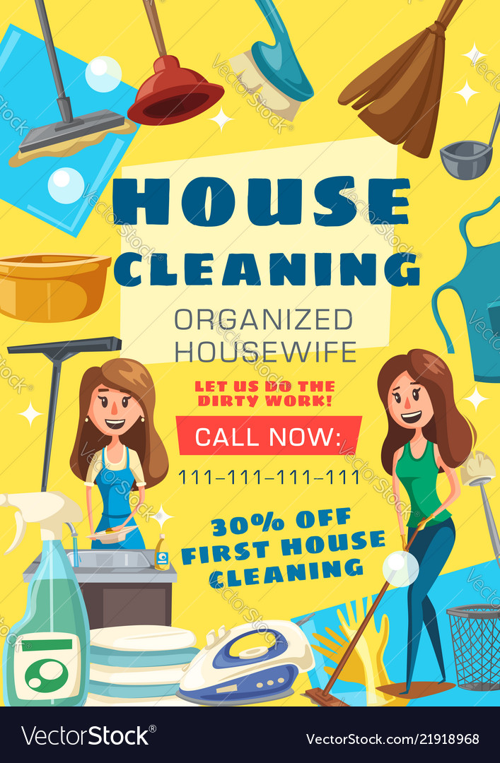 house cleaning service poster vector image