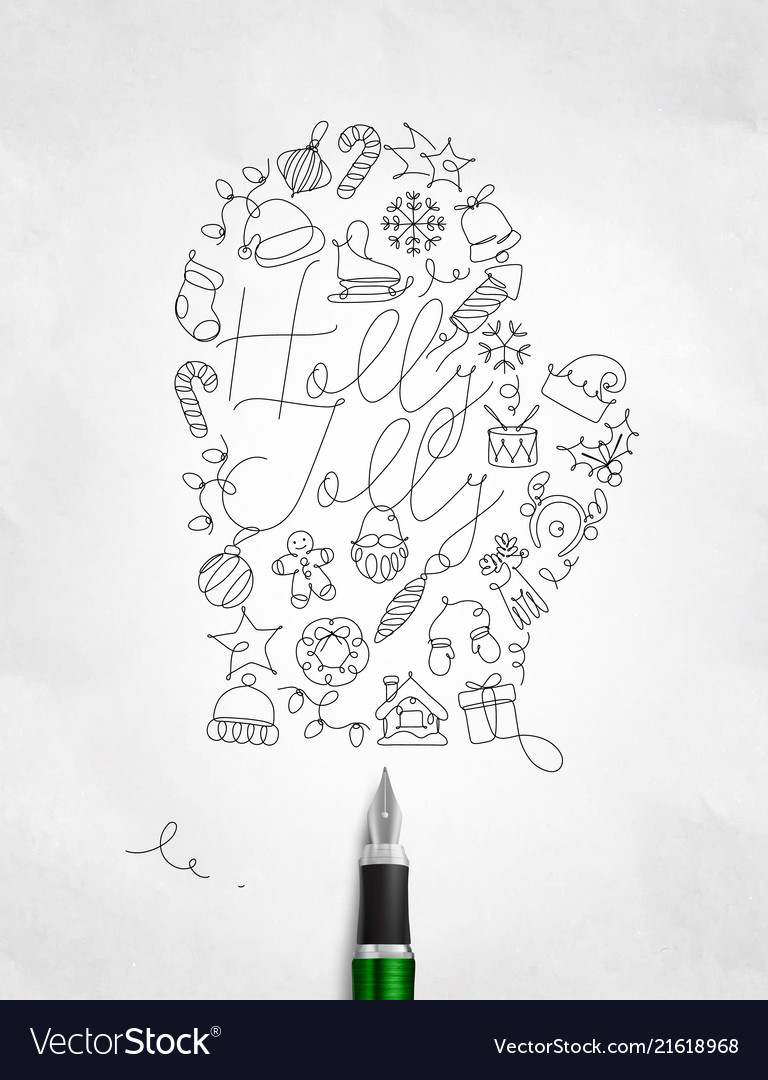Pen line drawing christmas tree toy glove