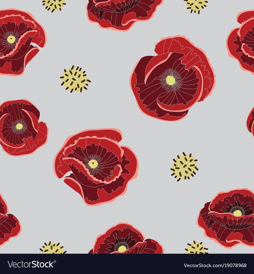 poppy flower pattern royalty free vector image