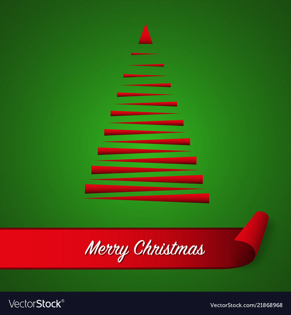Red abstract christmas tree on green background