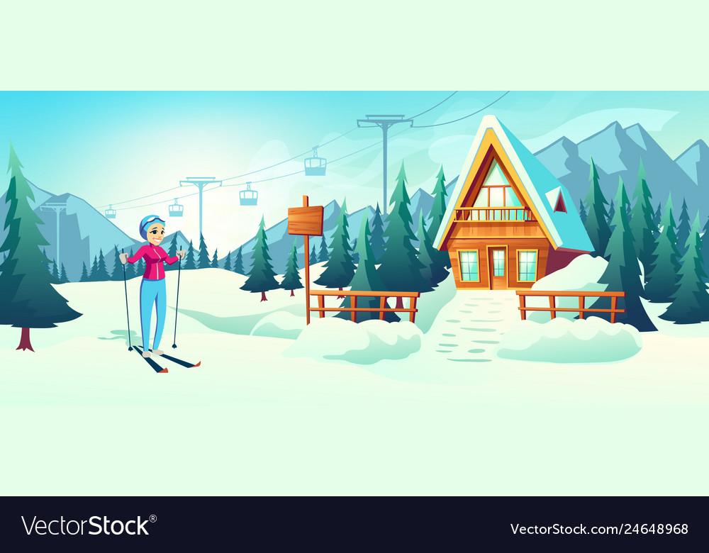 Skiing in mountain winter resort cartoon