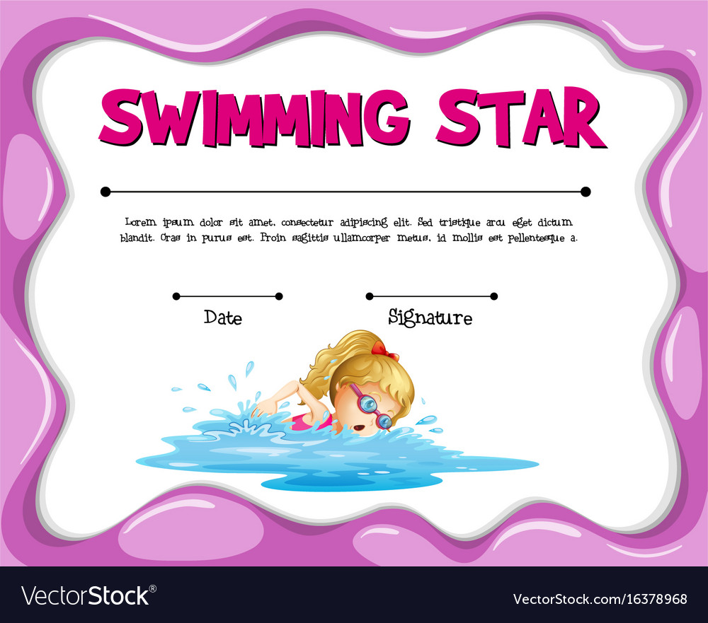 Swimming Star Certificate Template With Girl Vector Image