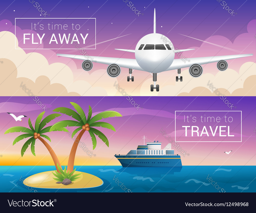 Travel banners set Passenger airplane in