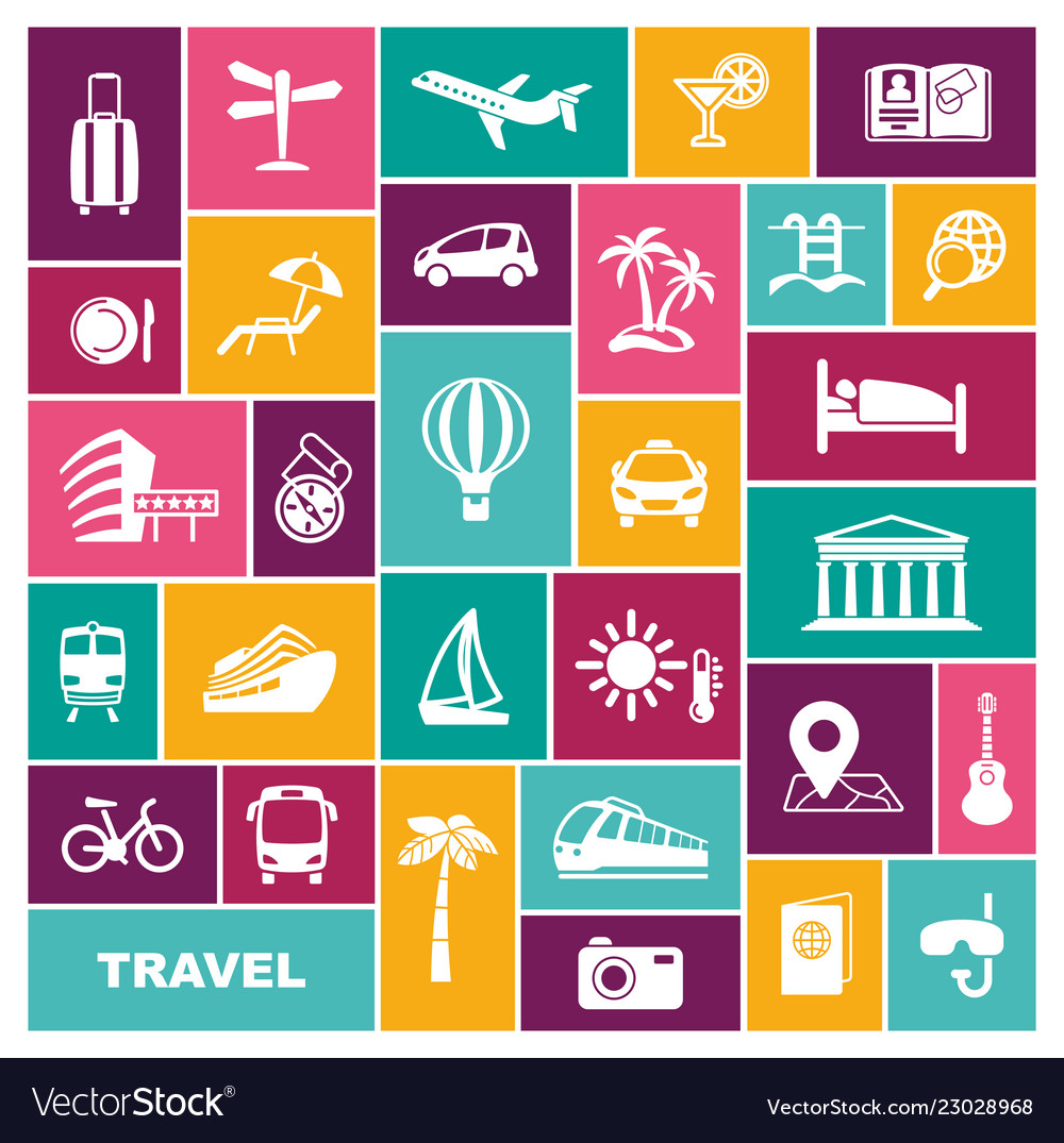 Travel icons in flat style