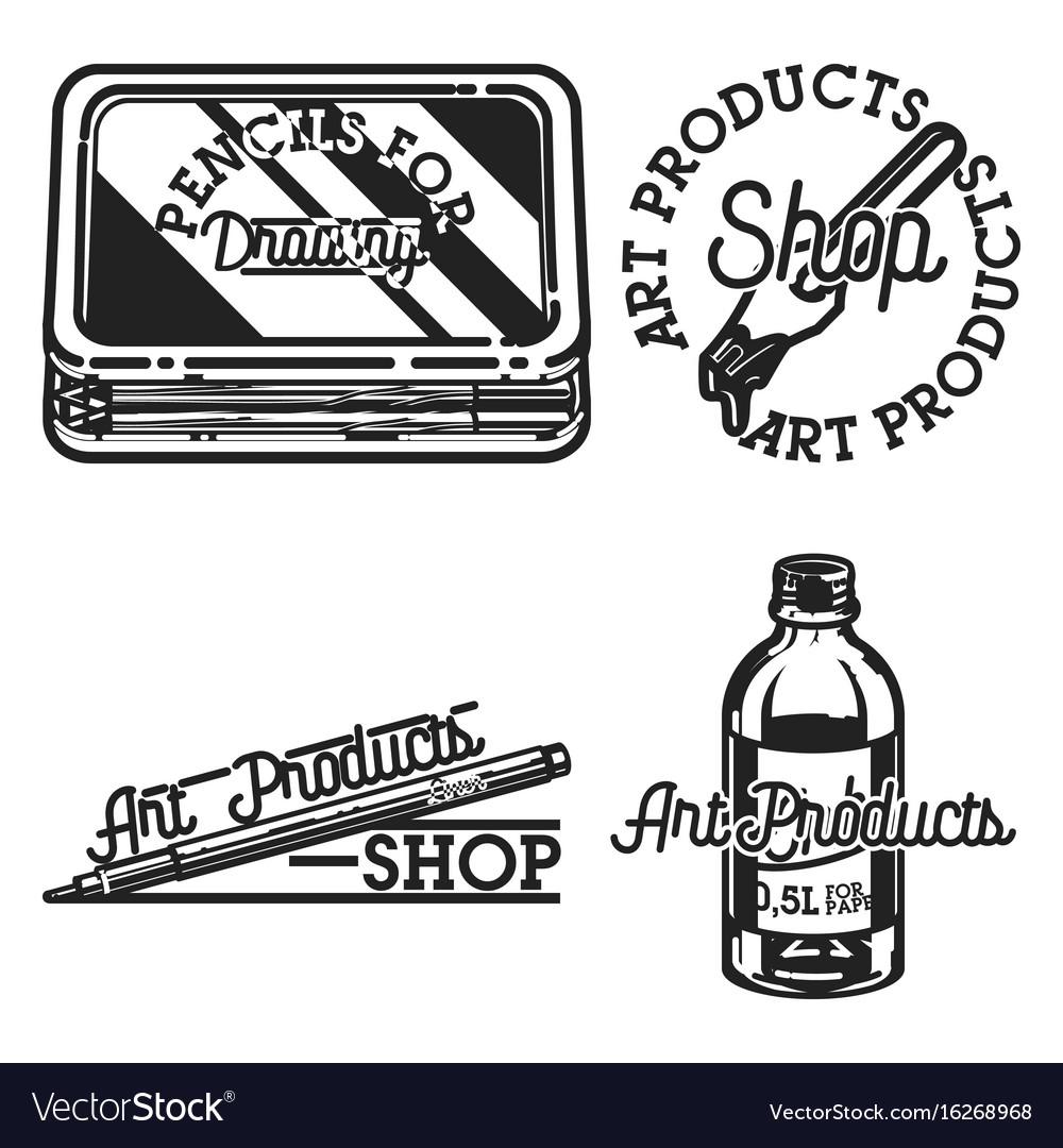 Vintage art products shop emblems