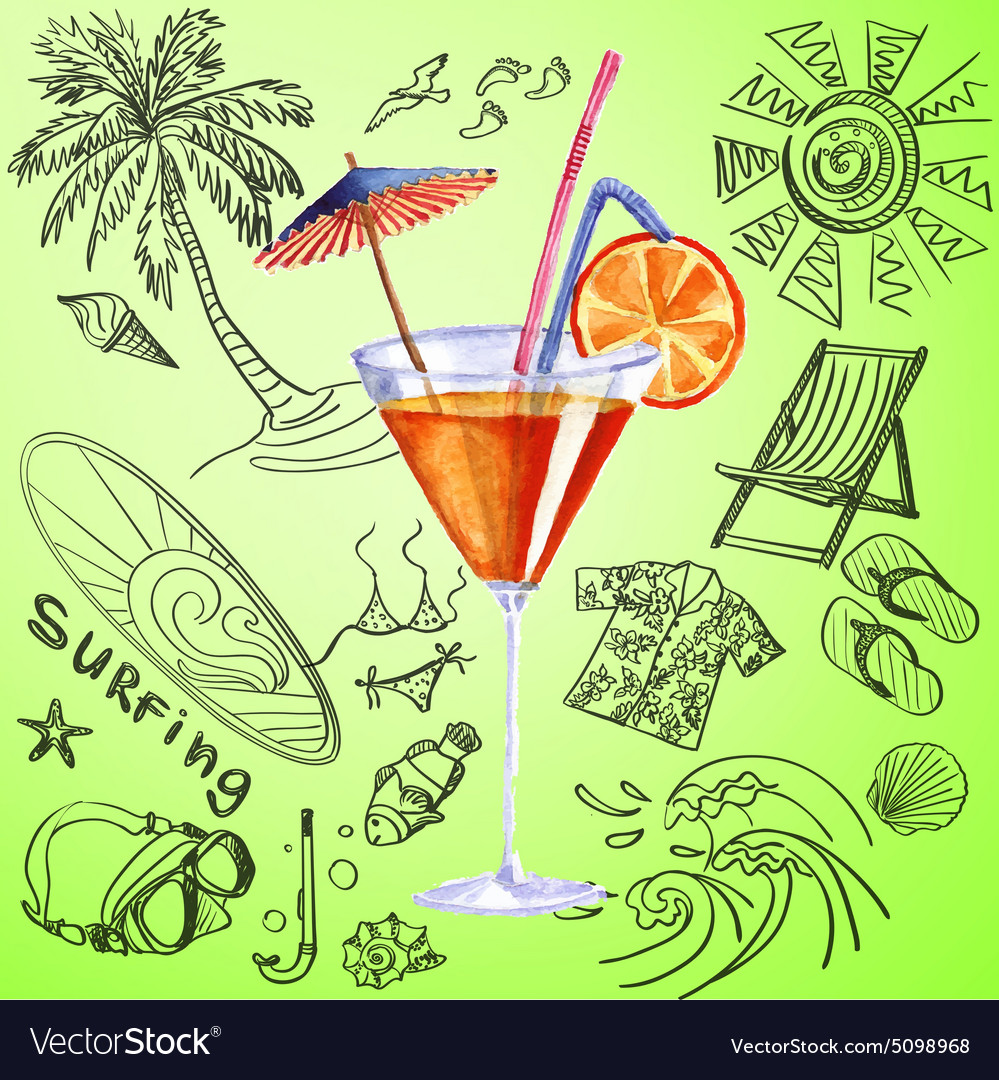Watercolor cocktail and tourist hand draw icon