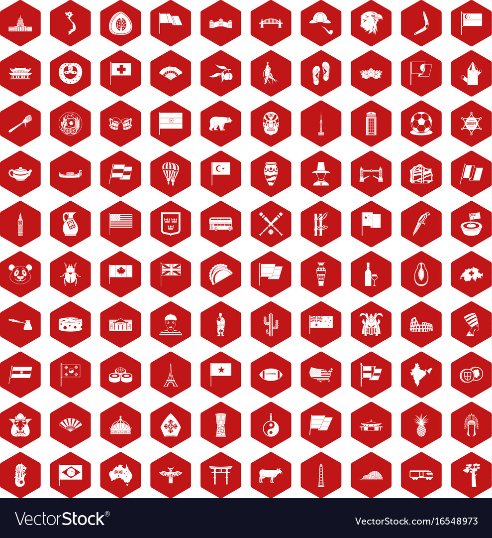 100 national flag icons hexagon red