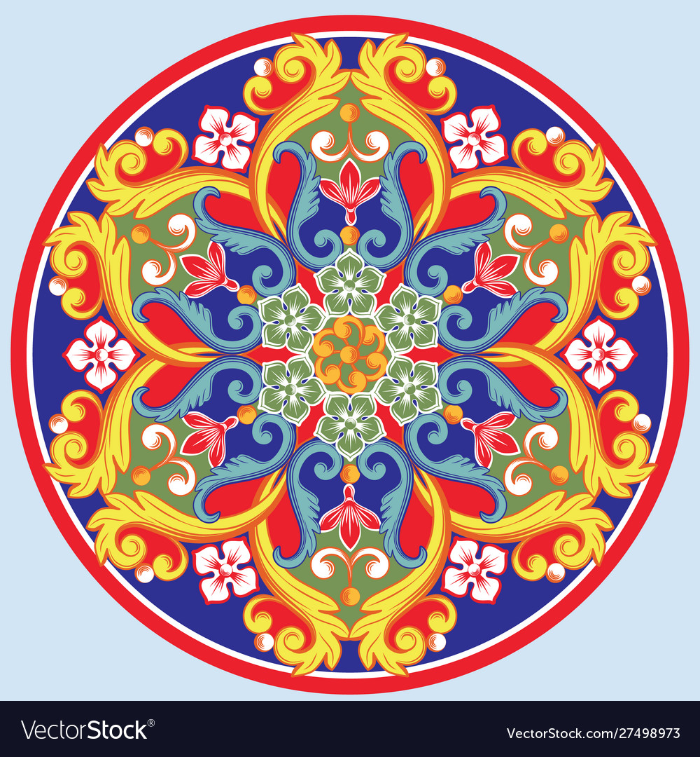 Colorful ethnic round ornamental mandala vector