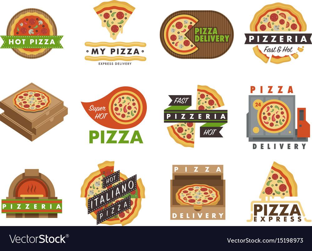 Delivery pizza logo badge pizzeria restaurant