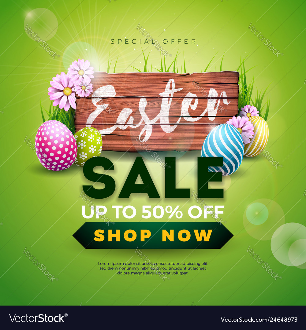 Easter sale with color painted egg