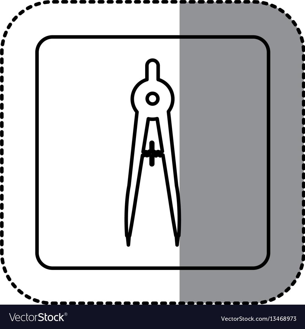 Figure emblem compass school tools icon