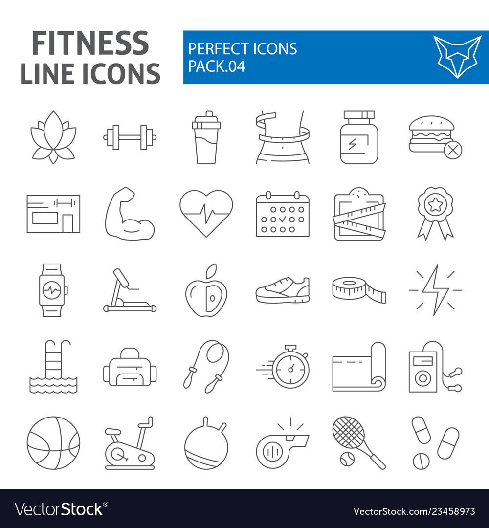 Fitness thin line icon set sport symbols