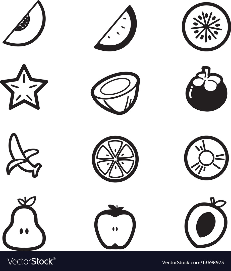 Fruit cut slice icons