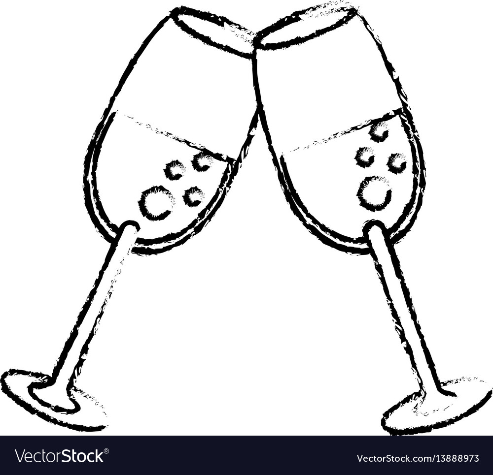 Glass cup drink wedding sketch vector image