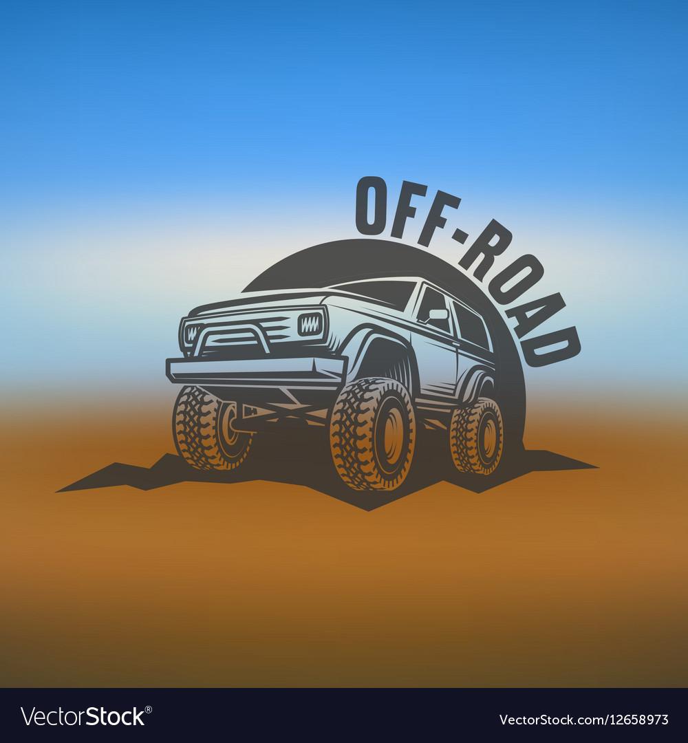 Off-road suv car monochrome labels emblems