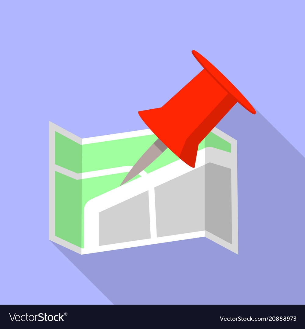 Office map pin icon flat style