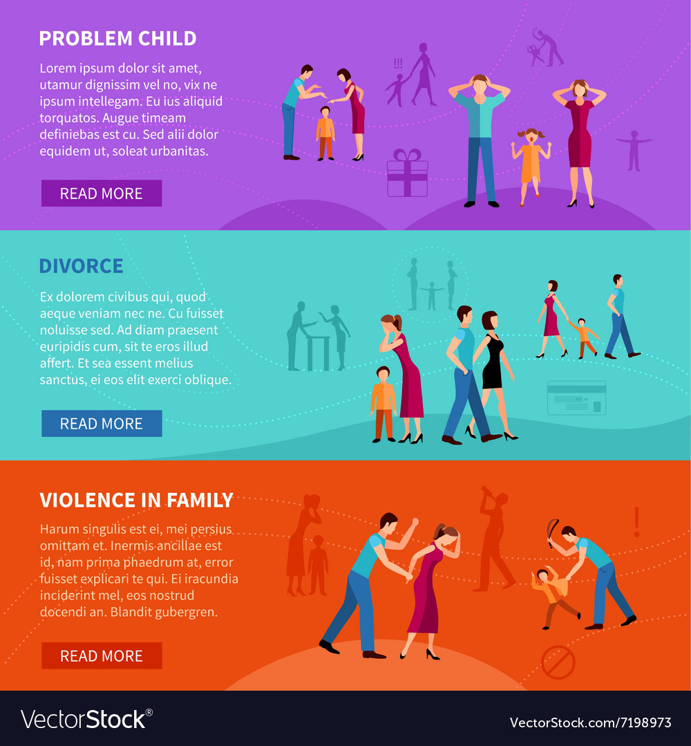 People With Family Problems Banners vector image