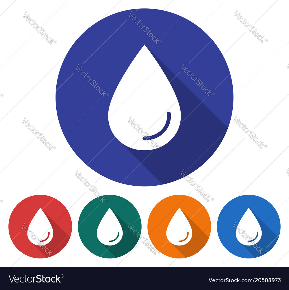 Round icon of a water drop flat style with long vector image