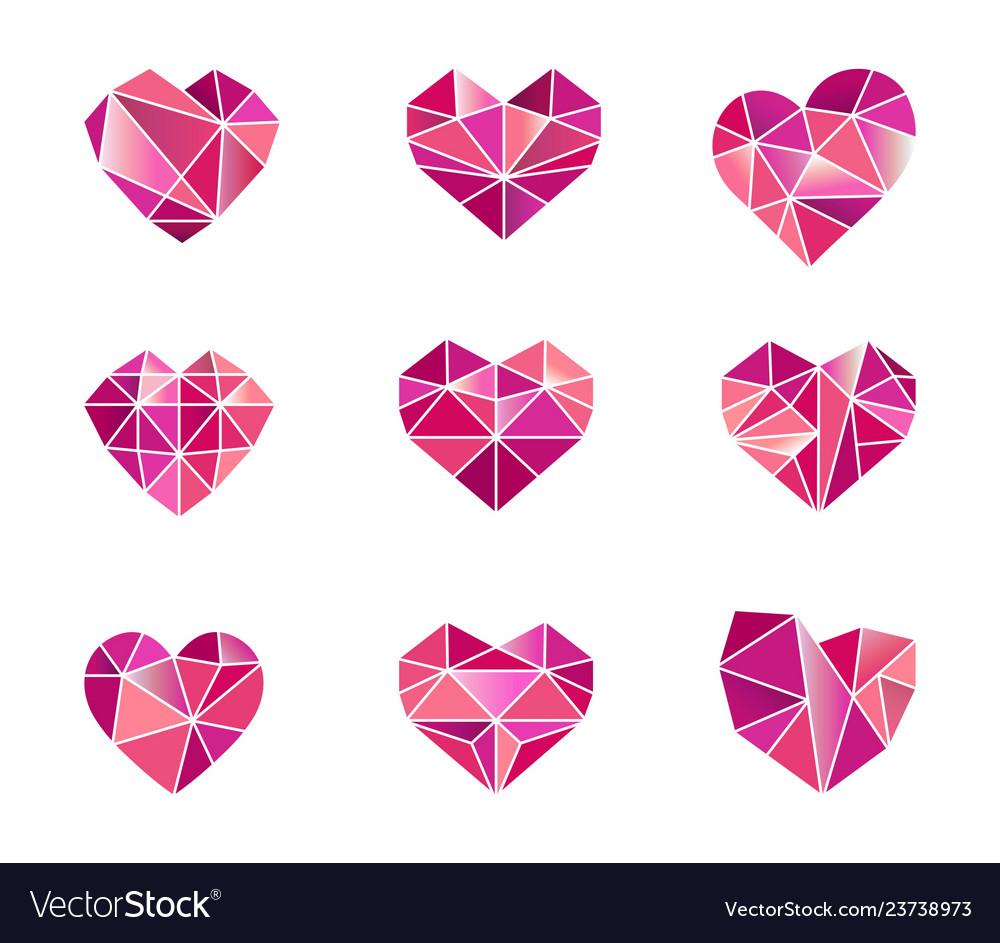 Set polygonal heart symbols icons