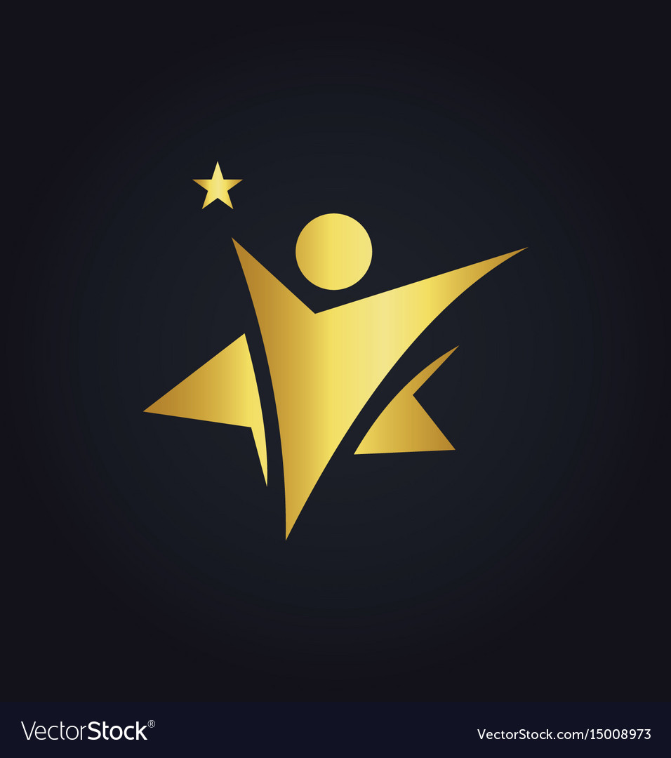 Star people winner abstract gold logo