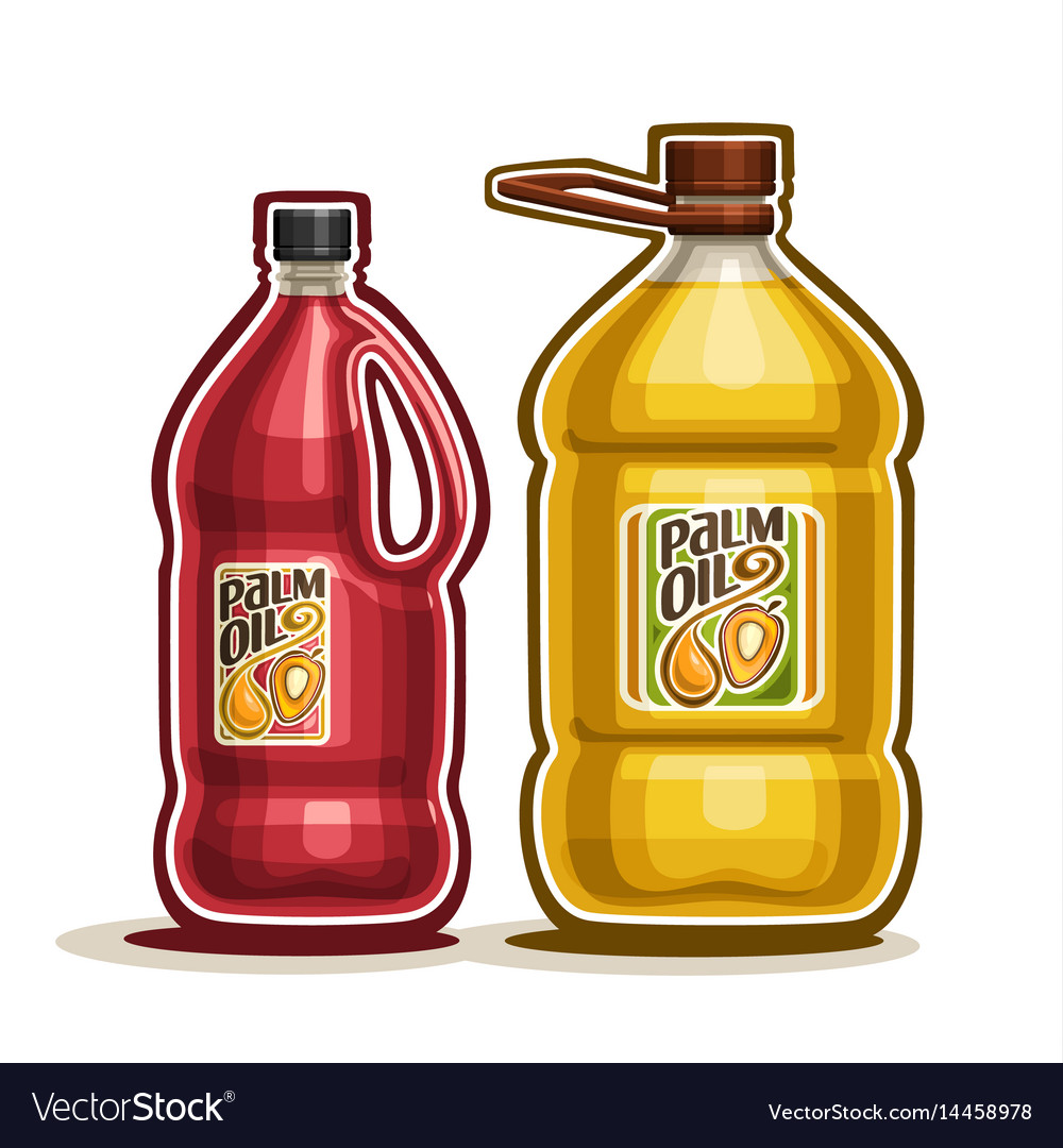 2 big red and yellow bottles with palm oil