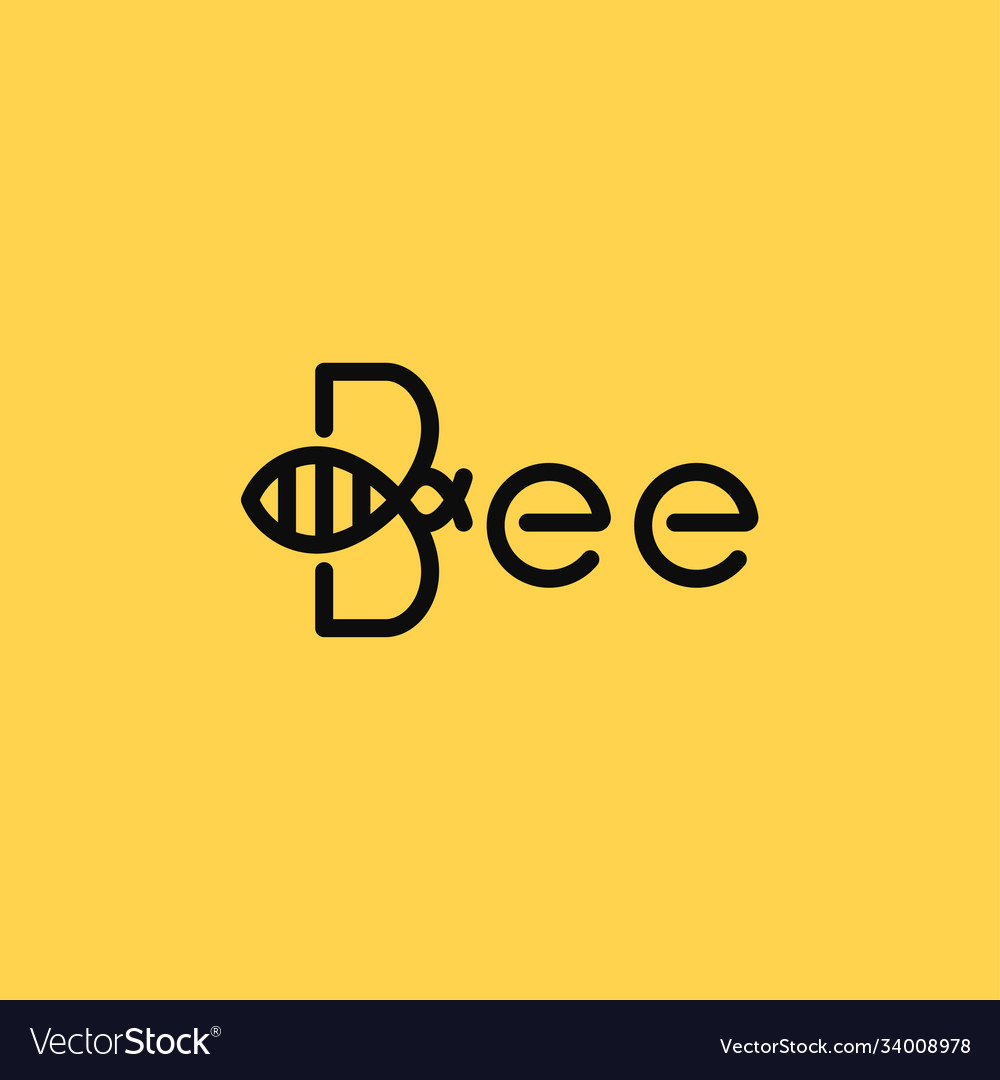 Bee linear logo bee on yellow background