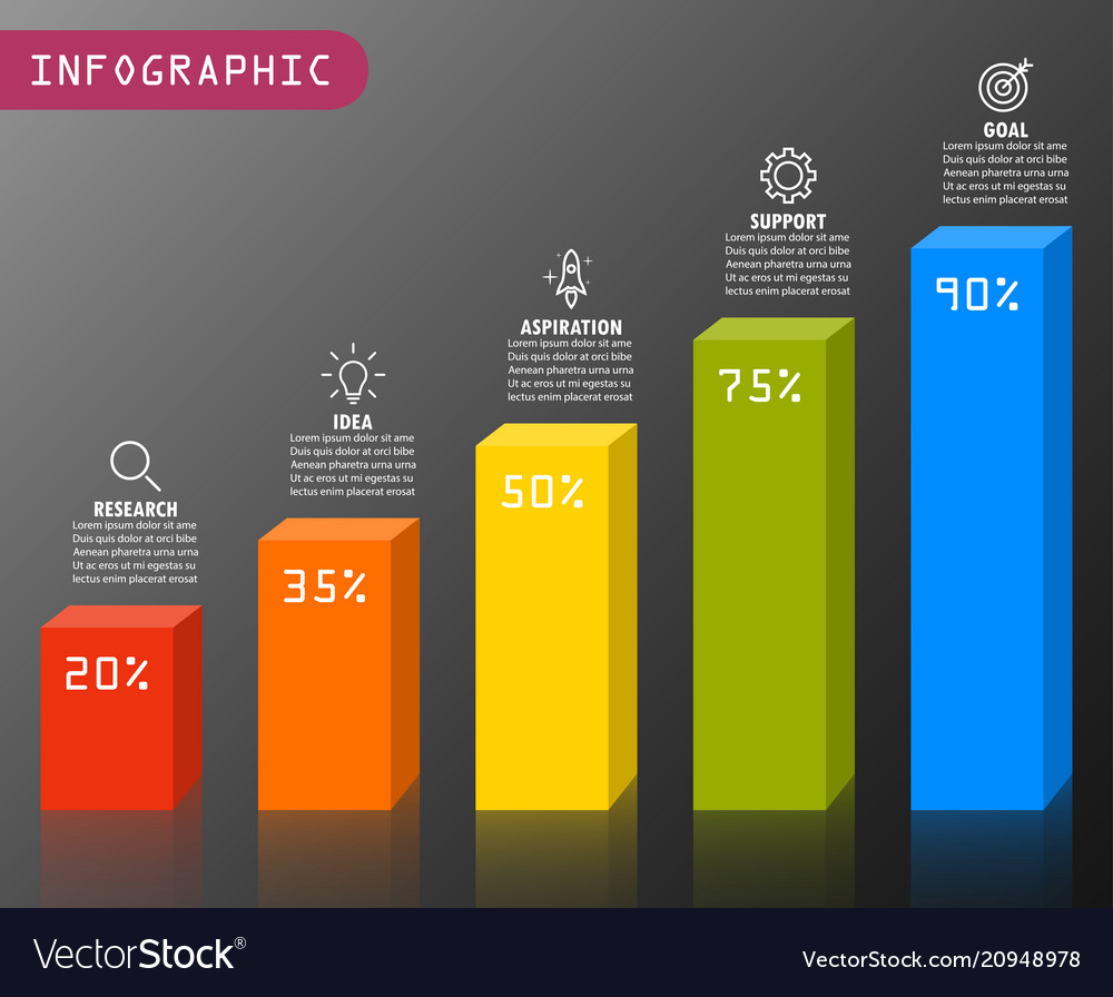 infographic elements in modern fashion bar chart vector image
