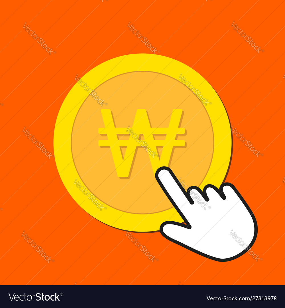 Korean won currency icon exchange buying currency