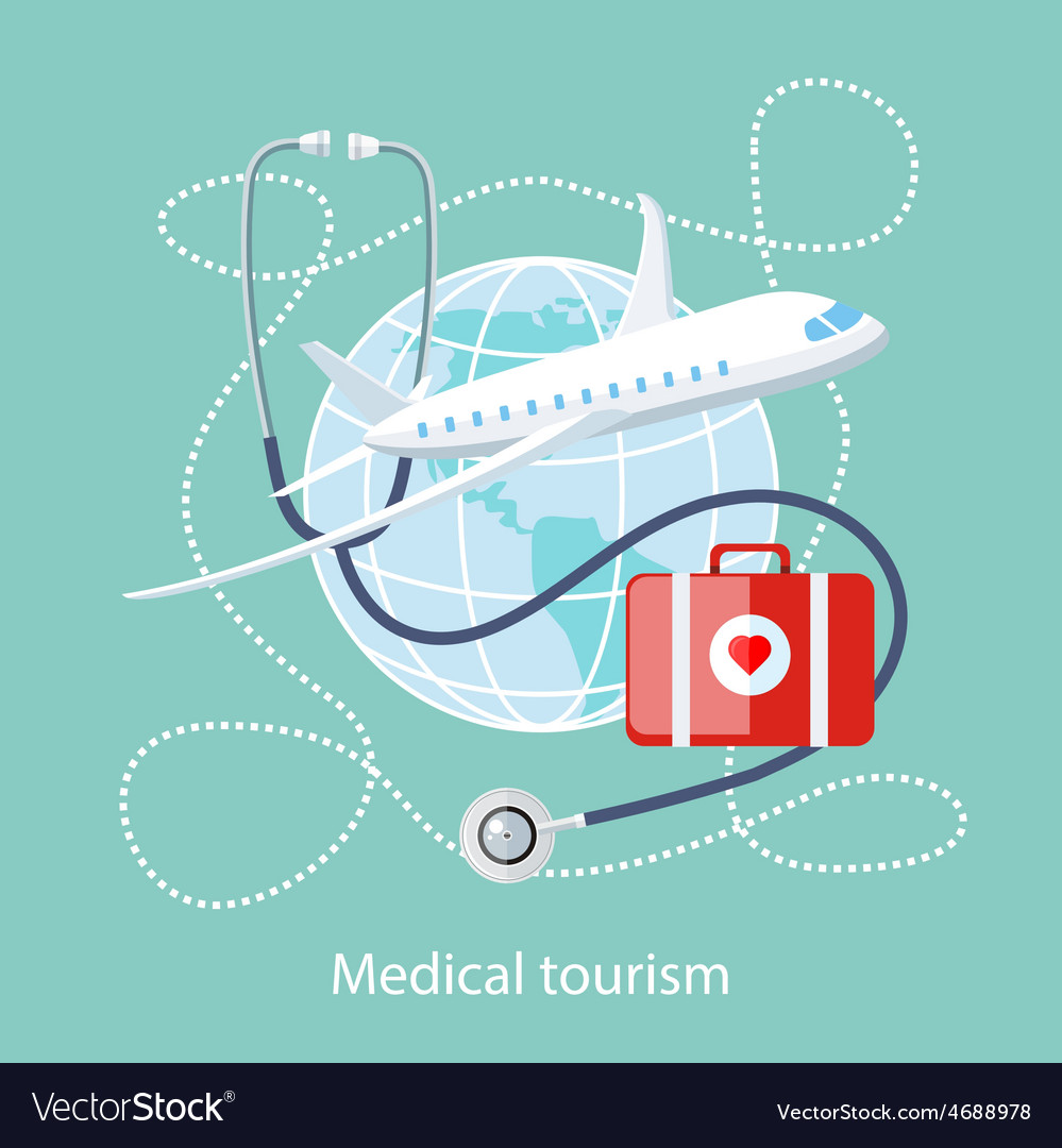 Medical Tourism Icon of Traveling and Treatment