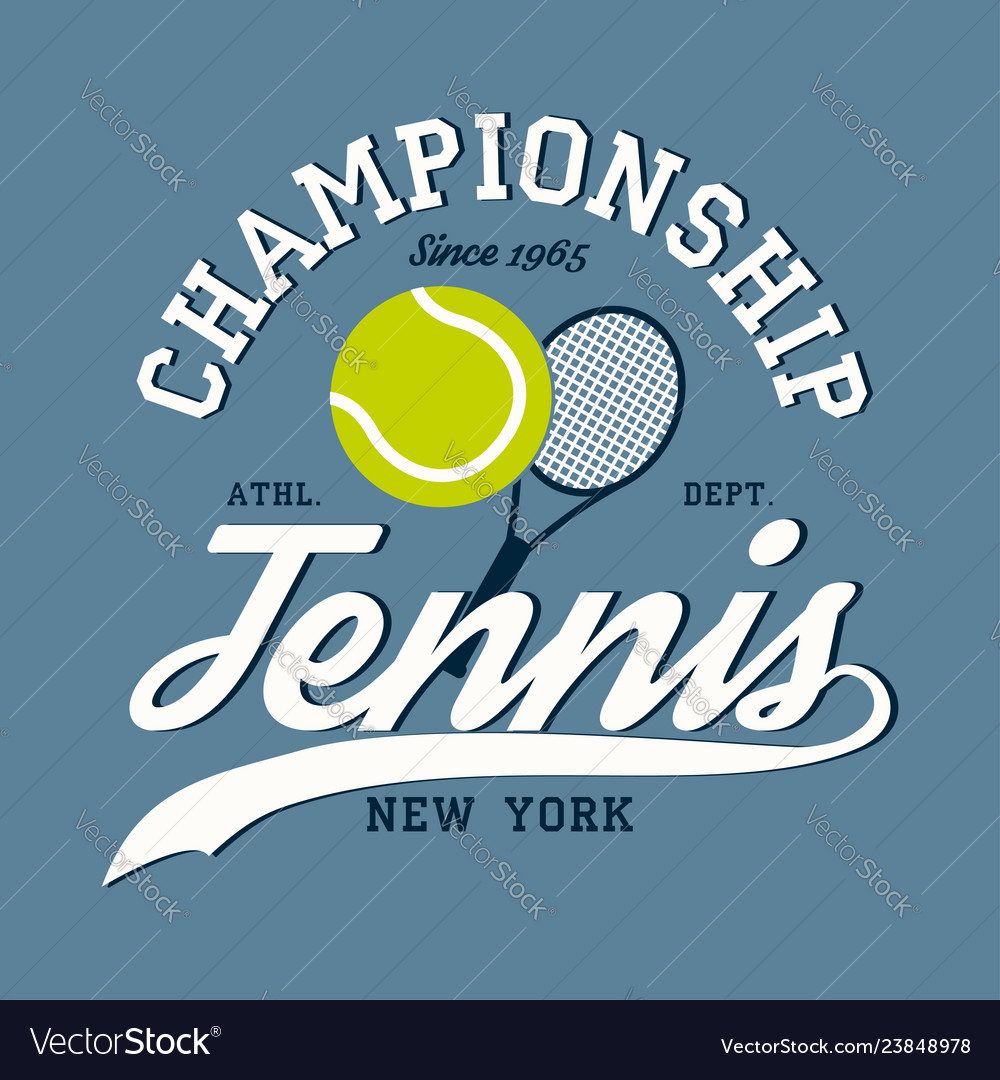 New york tennis apparel with racket and ball
