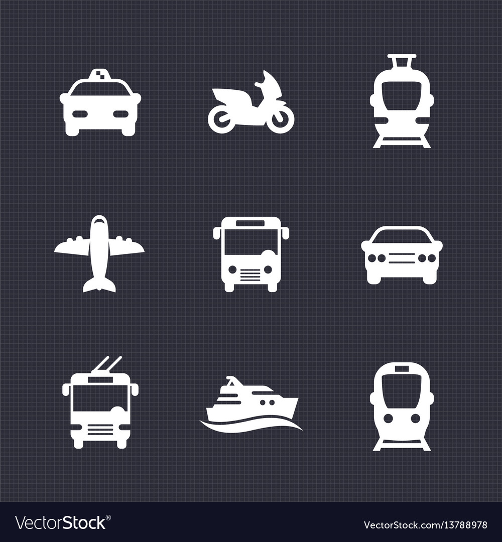 Passenger transport icons set bus subway tram