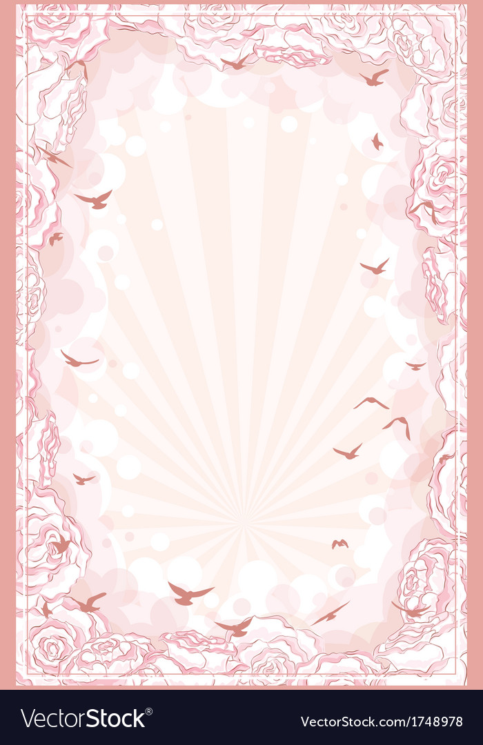 Romantic background with hand drawn roses frame