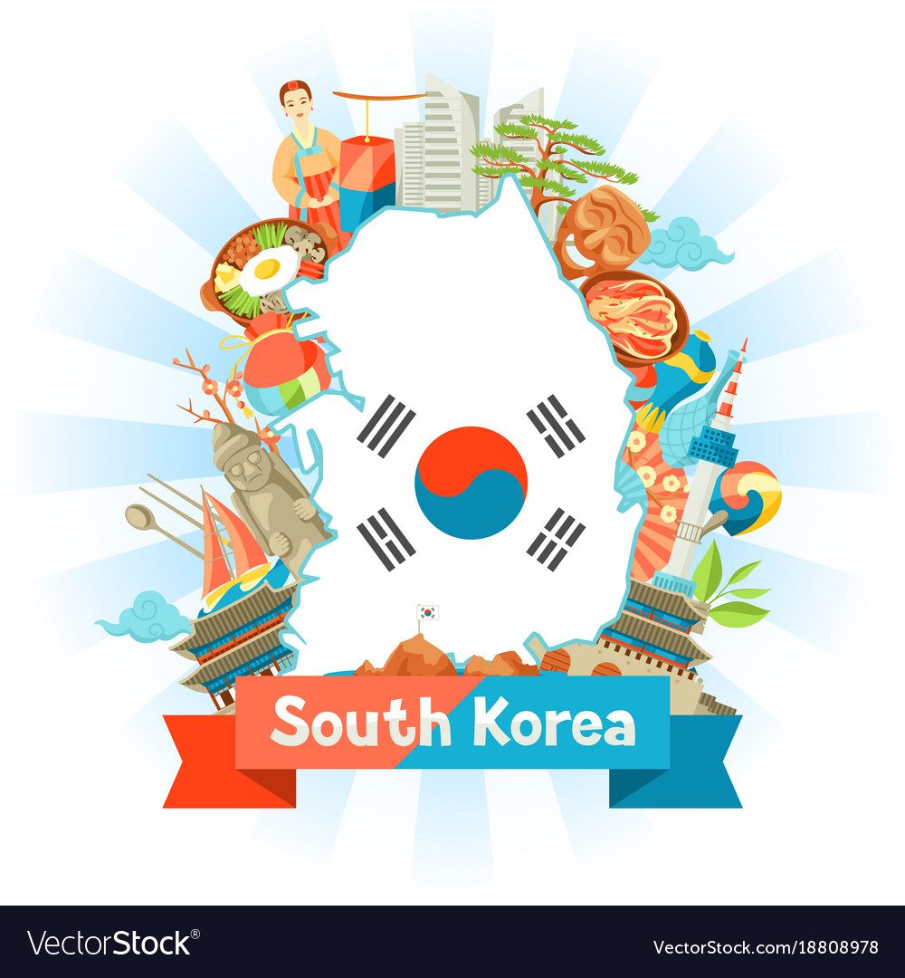 South Korea Map Design Korean Traditional Symbols Vector Image