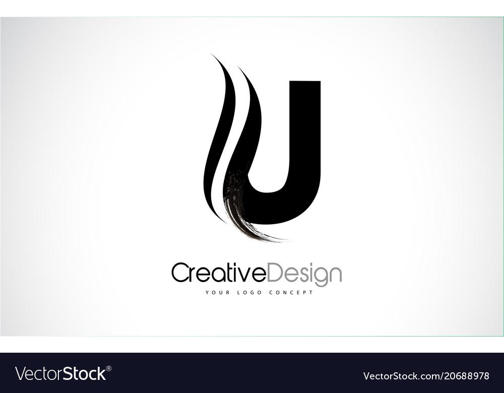 U Letter Design Brush Paint Stroke Vector Image