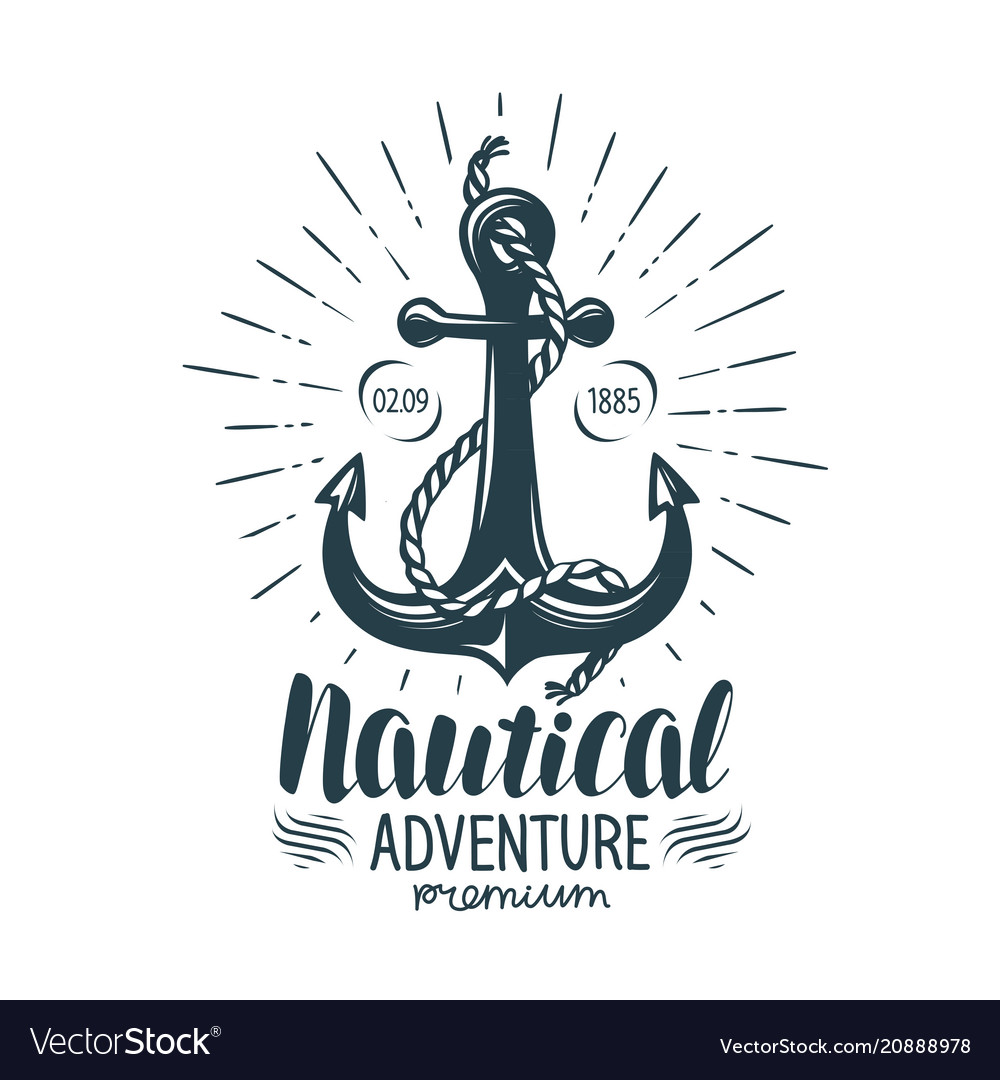 Vintage anchor label nautical adventure