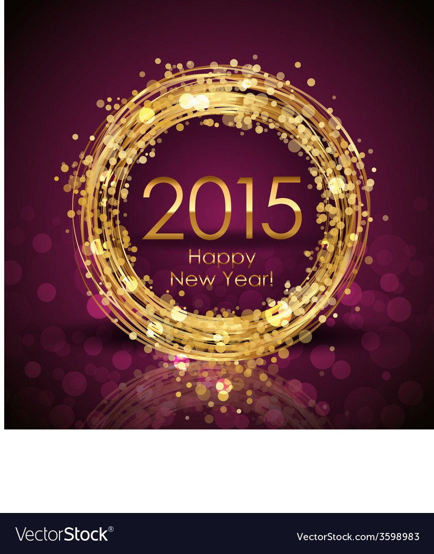 2015 Happy New Year background with gold clock vector image