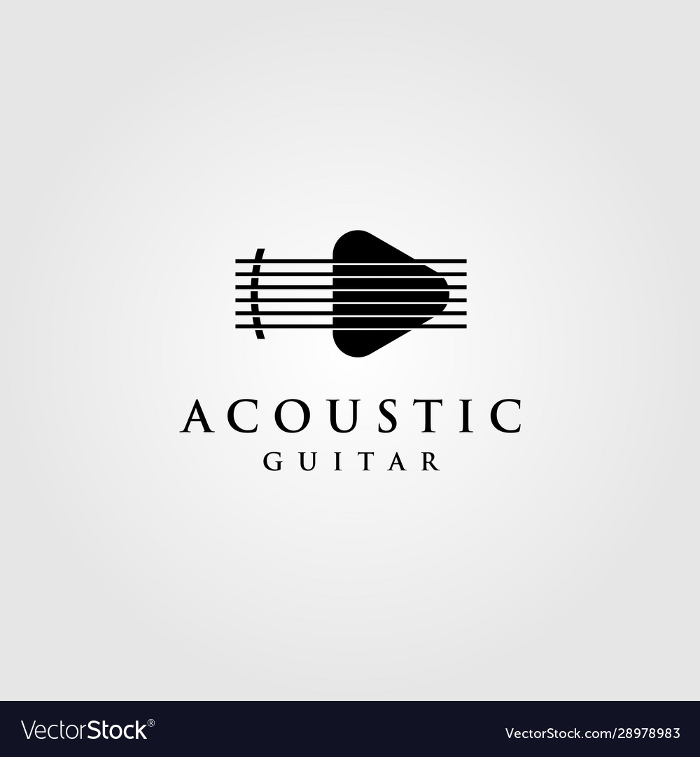Acoustic guitar logo play button symbol design