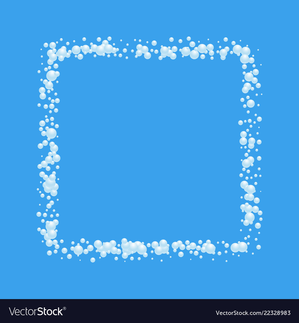 Bubbles abstract frame on blue background