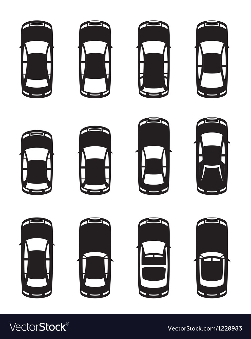 Different cars seen from above