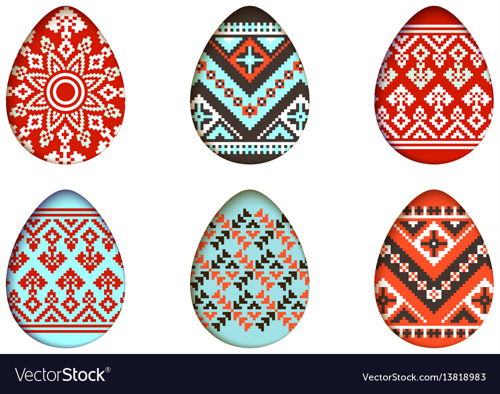 Easter eggs set in paper cut style for