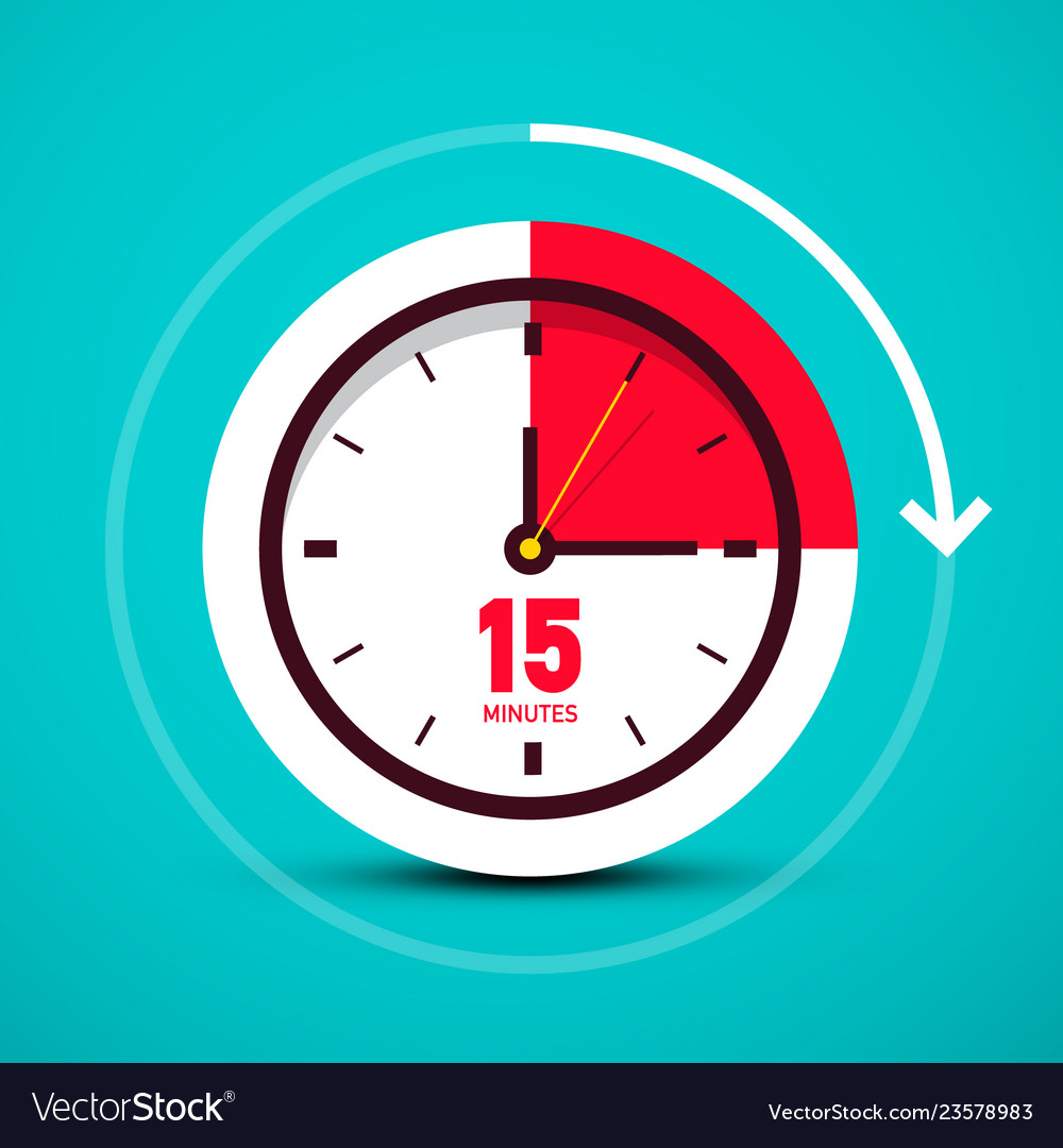Fifteen 15 minutes time symbol analog clock icon