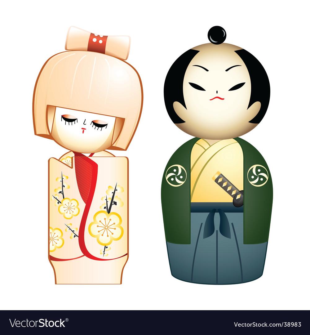 Geisha and samurai vector image