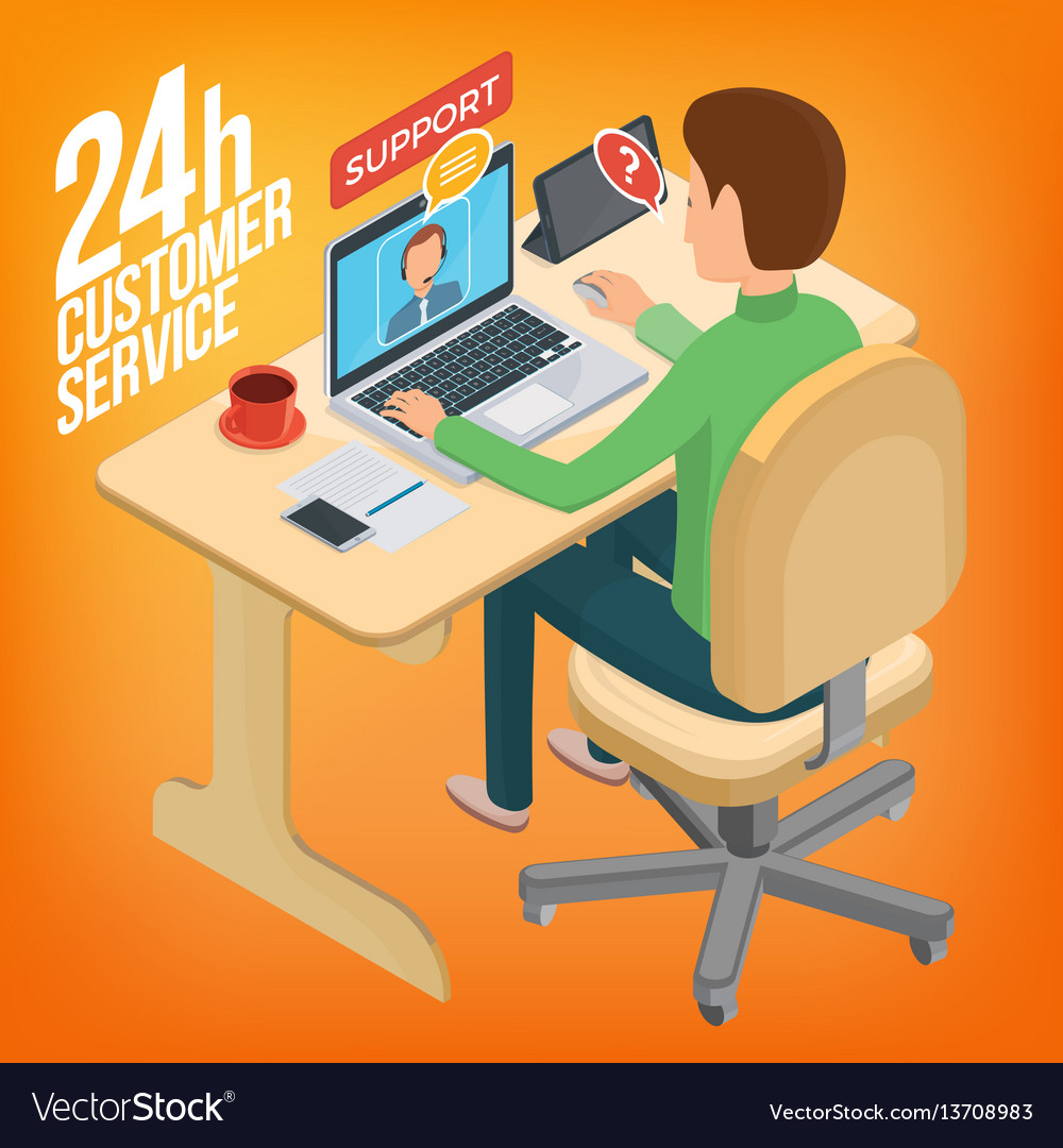 Isometric image service for customers man sitting