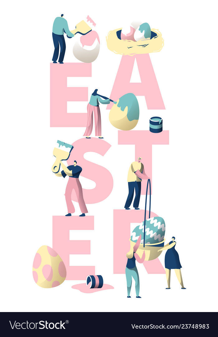 People paint easter egg typography banner
