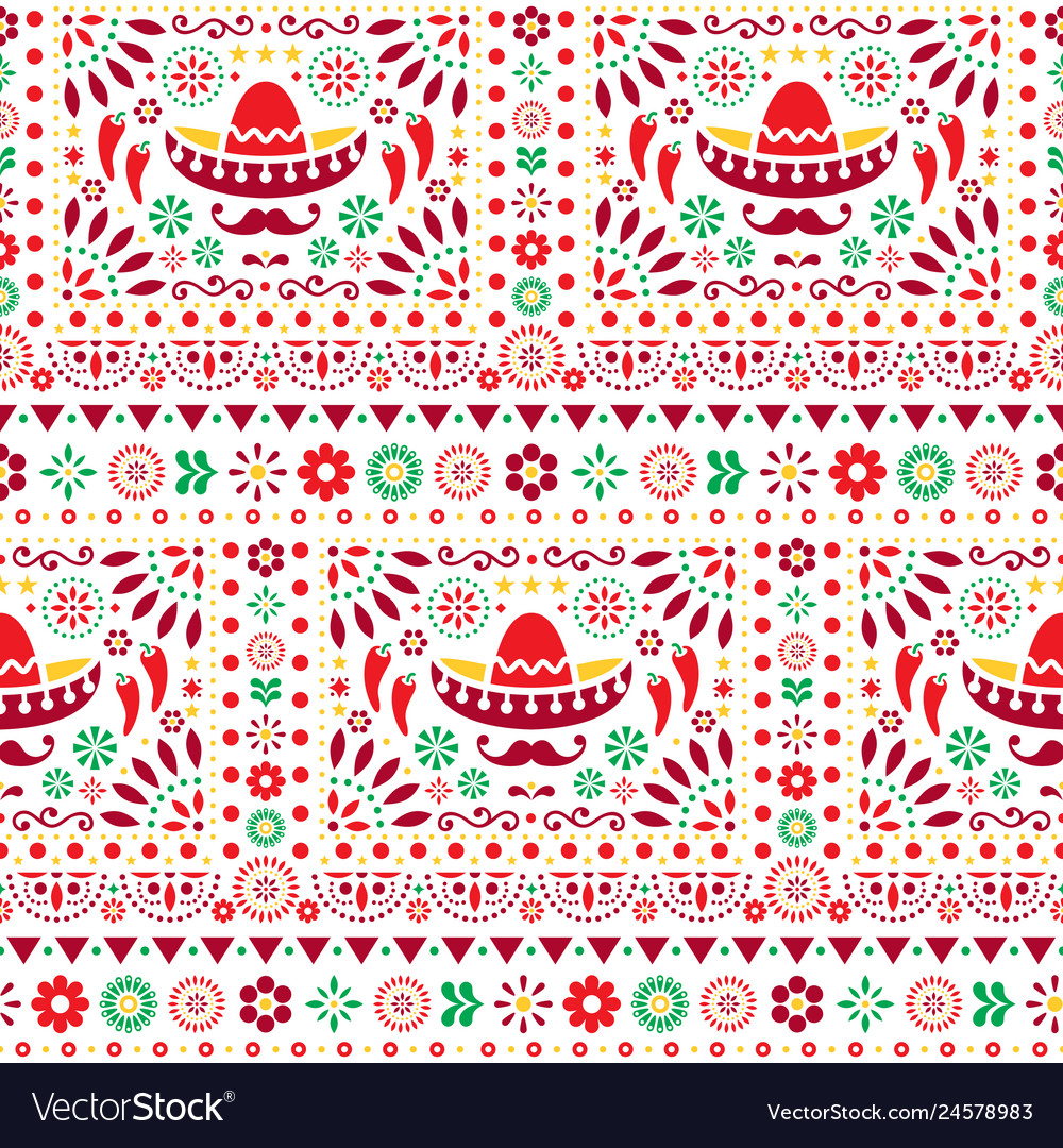 Seamless mexican floral pattern