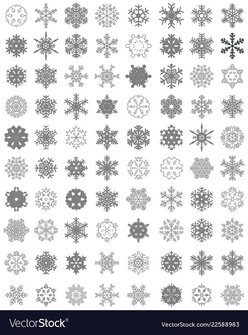 Set different gray snowflakes